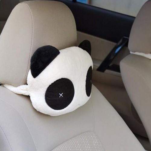 New Panda Plush Headrest Auto Seat Covers Head Neck Rest Cushion Cartoon Headrest Pillow Pad Supplies