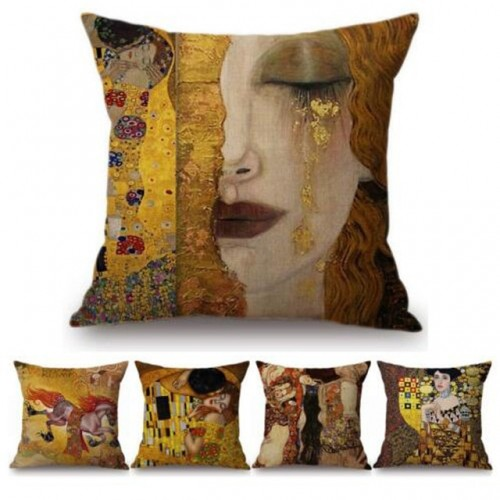 Gold Luxury Decorative Oil Painting Home Decorative Pillow Case Cover Gustav Klimt Gallery Collection Sofa Chair
