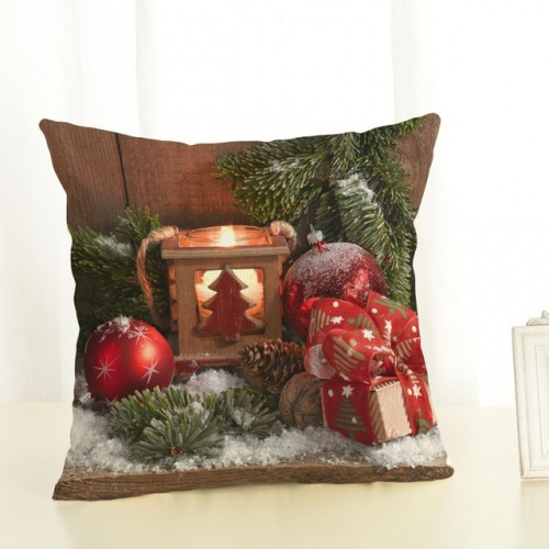 Happy New Year Christmas Tree Pillow Cases Stug Snow Cushion Covers 45X45cm Flower and Birds