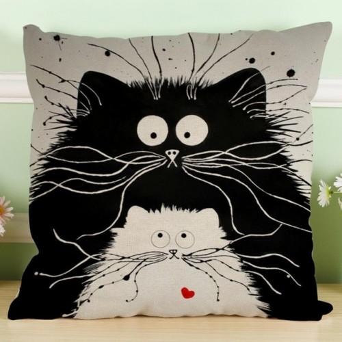 MUQGEW Vintage white and black Cat Dog Cotton cute Pillow Sofa Waist Throw Cushion Home Car