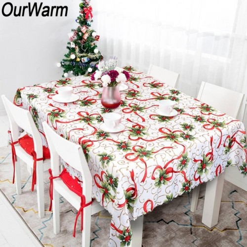 OurWarm New Year Table Cloth Christmas Plastic Rectangular Table Cloth Tablecloths House Christmas Decoration 175