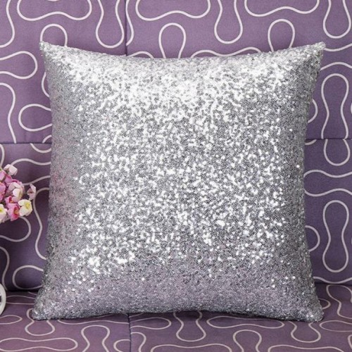 Solid Color Glitter Silver Sequins Bling Throw Pillow Case Cafe Home Decor Cushion Cover Decorative Pillows