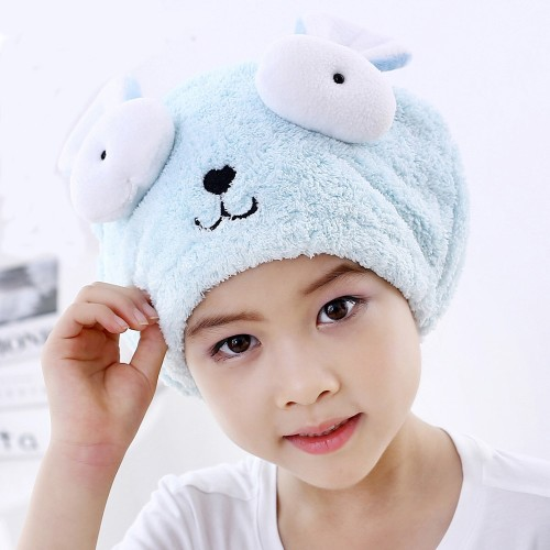 Cute Bath Towel Hair Dry Hat Shower Cap Strong Absorbing Drying Long Velvet Ultra Soft Children