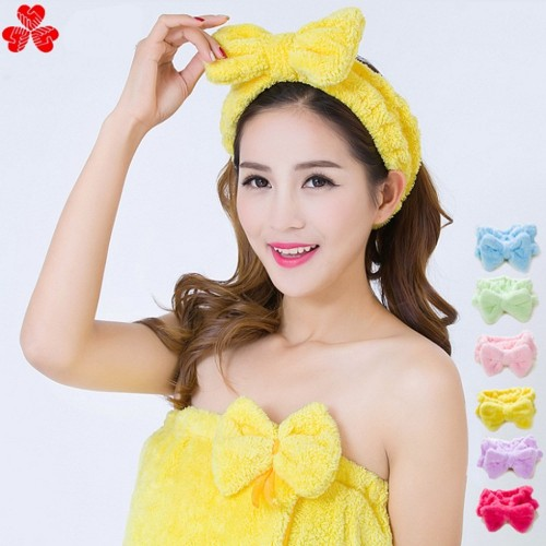 Cute Butterfly End Bath Wash Makeup Hair Band Shower Caps Lovely Ribbon Wash Face Makeup Beauty