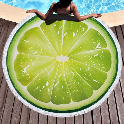 Fruit Orange Lemon Watermelon Tomatoes Printed Large Oversized Round Beach Towel Microfiber Serviette De Plage Thick