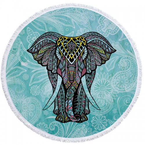 Indian Elephant Summer Large Microfiber Printed Round Beach Towels With Tassel Bohemia Bath Towels Shawl Mat