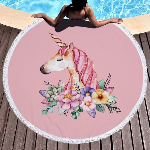 Pink Cute Unicorn Microfiber Large Round Beach Towel Toalla Microfibra Thick Terry Cloth Tassels Blanket Serviette