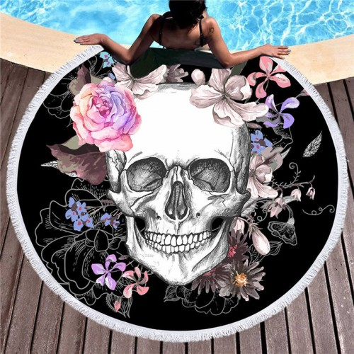 Women Large Bath Towel for Beach Thick Round 3d Sugar Skull Printed Beach Towel Fabric Quick