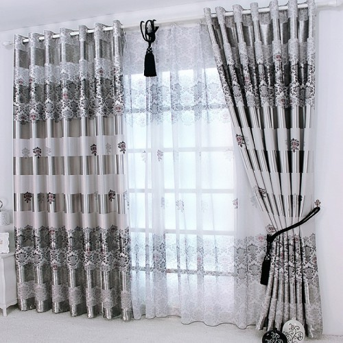 1 pc New Curtains for Windows Drapes European Modern Elegant Noble Printing Shade Curtain For