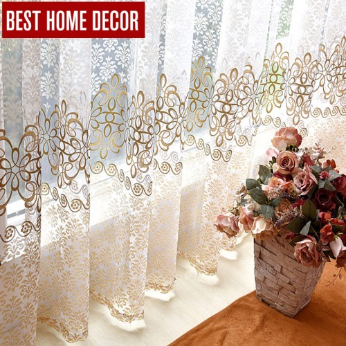 BHD floral sheer tulle window curtains for living room the bedroom modern tulle curtains for window