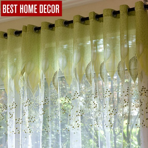 BHD sheer tulle window curtains for living room the bedroom the kitchen modern tulle curtains green