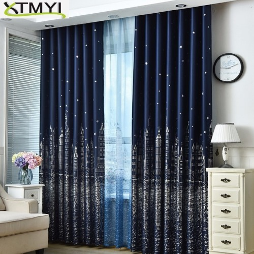 Curtain For Living Room Children Bedroom Cartoon Sea Castle Printed Voile Curtain kids Curtains Cloth Tulle