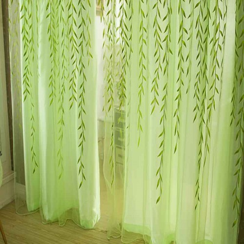 Cute Willow leaf Tulle Curtains Blinds Voile Pastoral Style Willow Floral Window Decorative cortinas for bedroom