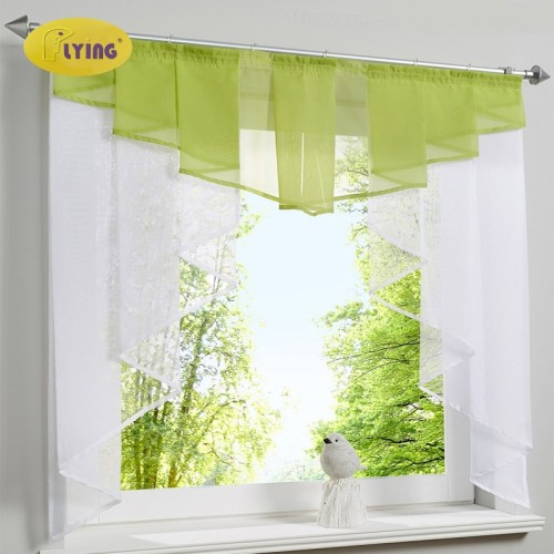 Flying Tulle Kitchen Curtain For Window Balcony Rome Pleated Design Stitching Colors Voile Sheer Drape White