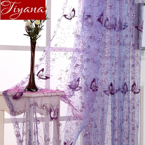 French Romantic Shining Butterfly Embroidered Voile Curtains Panel Window Home Textile Bedroom Curtains Tulle Cortinas T