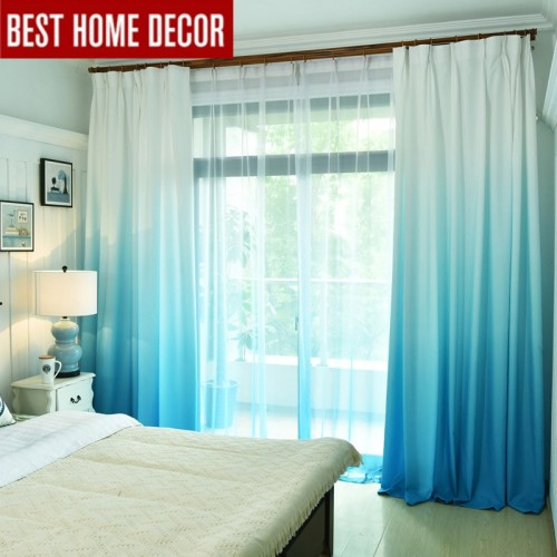Gradient color window curtains for living room bedroom kitchen tulle curtains and blackout curtains for window