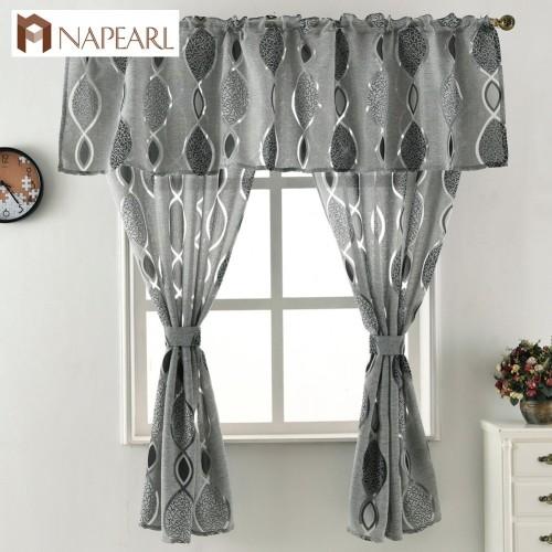 Jacquard short curtain valance kitchen curtain home living room door balcony window treatment modern curtain geometrics