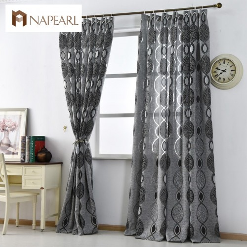 Modern curtain home decoration living room curtains window fabric black ready luxury curtain window treatments brand
