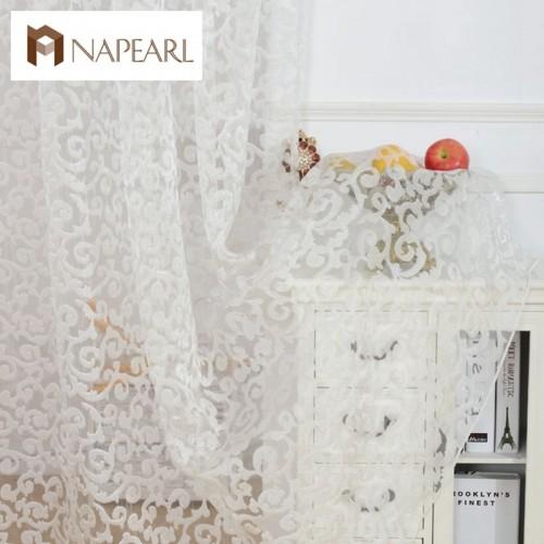 NAPEARL European style jacquard design home decoration modern curtain tulle fabrics organza sheer panel window treatment