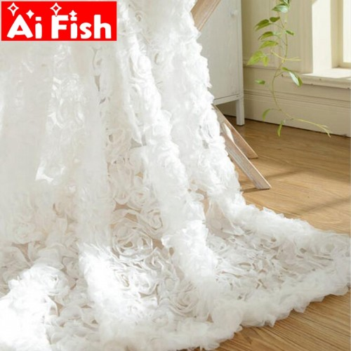 Pastoral Korean Creative White Lace 3D Rose Curtains Voile Custom Window Screens For Marriage Living Room