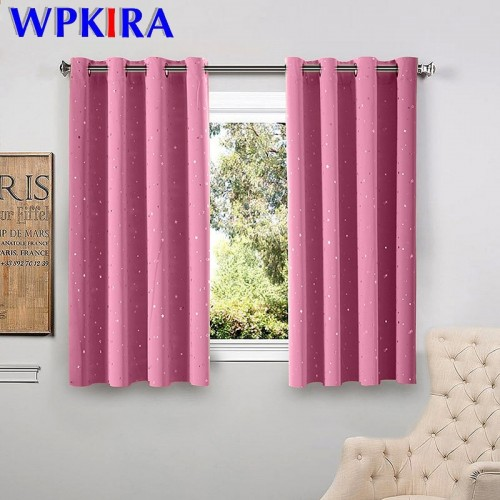 Shiny Stars Children Cloth Curtains For Living Room Kids Boy Girl Bedroom Blue Pink Blackout Cortinas
