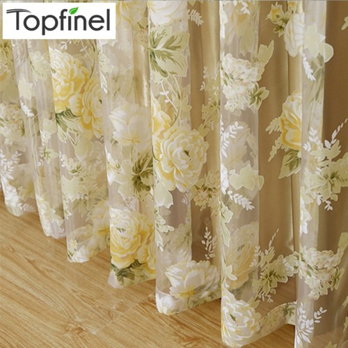 Top Finel Modern Rose Floral Tulle for Window Curtain Sheer Curtains for Living Room the