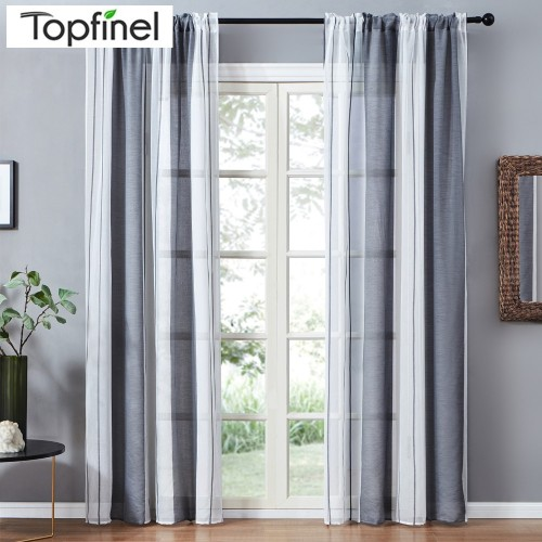 Topfinel Gray Semi Voile Sheer Curtains Drapes for Bedroom Kitchen Living Room Stripe Gradient Home Decortive
