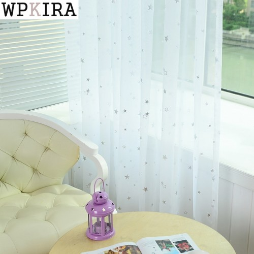 White Star Tulle Curtains Modern Curtains for Living Room Transparent Tulle Curtains Window Drapes Sheer for