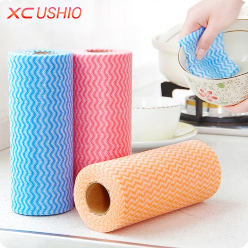 50pcs Roll Non woven Kitchen Cleaning Cloth Disposable Eco friendly Rags Wiping Scouring Pad Dishcloth Bathroom.