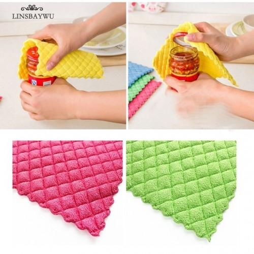 LINSBAYWU High Efficient ANTI GREASY color dish cloth colorful Washing Dish Towel Magic Kitchen Cleaning Cloth.