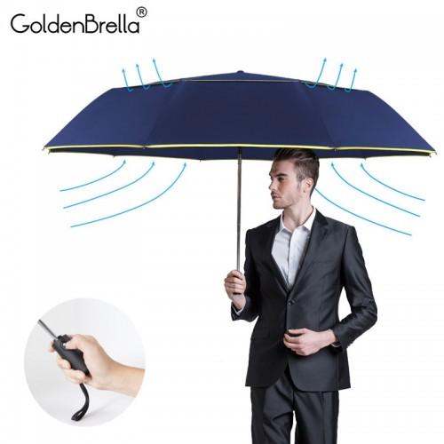 120CM Fully Automatic Double Big Umbrella Rain Women 3Folding Wind Resistant Large Umbrella Men Travel Business