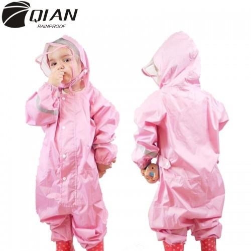 2 9 Years Old Fashionable Waterproof Jumpsuit Raincoat Hooded Cartoon Kids One Piece Rain Coat