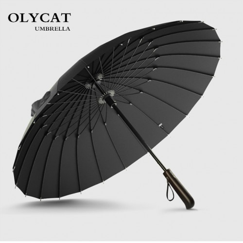 Brand Rain Umbrella Men Quality 24K Strong Windproof Glassfiber Frame Wooden Long Handle Umbrella