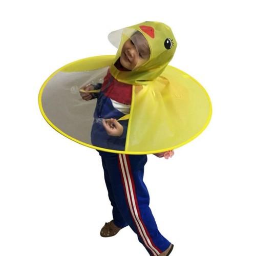 Creative Cartoon Duck Rain Hat Foldable Children Raincoat Umbrella Cape Cute Rain Coat Cloak Universal