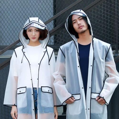 New Fashion Outdoor Rain Coat Women Covered Transparent EVA Girls Raincoat Travel Waterproof Rainwear Adult Poncho