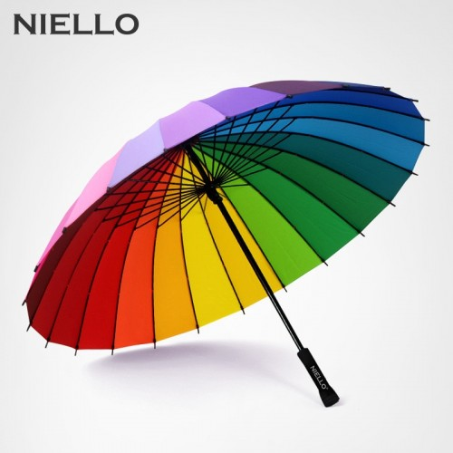 Rainbow Umbrella Rain Women Brand 24K Windproof Long Handle Umbrellas Strong Frame Waterproof Fashion Colorful