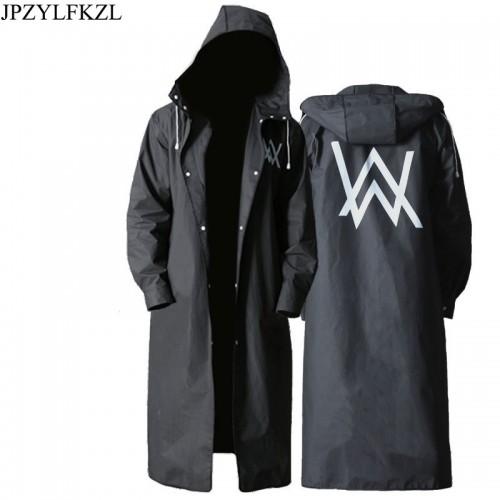 Stylish EVA Black Adult Raincoat Alan Walker Pattern Outdoor Men s Long Style Hiking Poncho