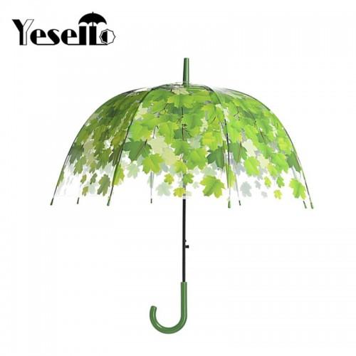 Transparent Thicken PVC Mushroom Green Leaves Rain Clear Leaf Bubble Umbrella