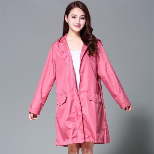 Women s Stylish Rain Poncho Waterproof Rain Coat With Hood Sleeves and Pocket