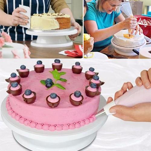 27 5cm Kitchen Cake Decorating Icing Rotating Turntable Cake Stand White Plastic Fondant Baking Tool DIY