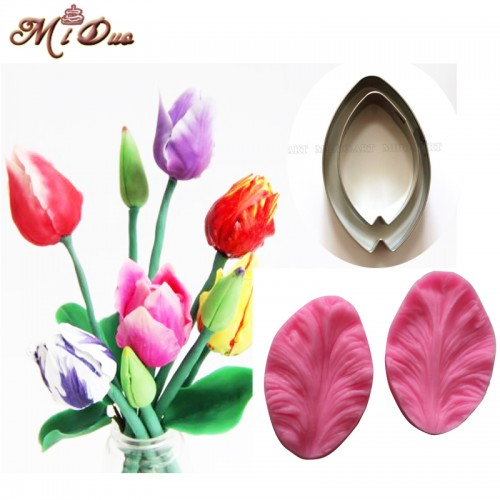 2Pcs Tulips Veiner Fondant flower petal Cake decorating tools Fondant cake decoration Cookie cutter cupcake mold