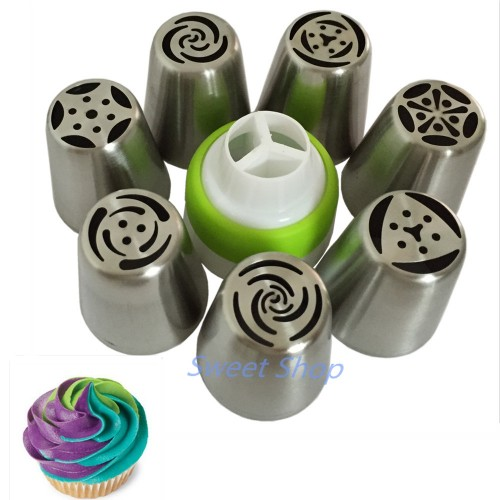 7PCS Stainless Steel Russian Tulip Icing Piping Nozzle 1 Adaptor Converter Pastry Decorating Tips Cake Cupcake