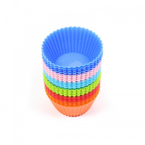 Baking necessary 24pcs Round Shaped Silicone Cake Mold Muffin Cups Soap Mold Pudding Jelly molds Color