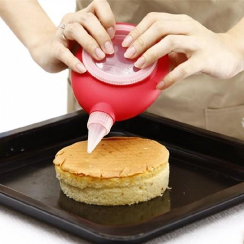 Cake Decorating Nozzles New Design Colorful Silicone Macaron Pen With 6 Nozzles 16 5 11 6CM