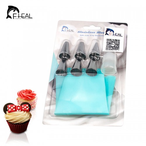 FHEAL Silicone Icing Piping Cream Pastry Bag with 6pcs Stainless Steel Nozzle Sets Cake DIY Decorating
