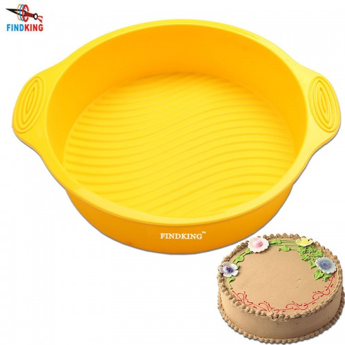 FINDKING 9 inch 28 5 24 5 6 2cm 175g DlY Round Shape 3D Silicone Cake