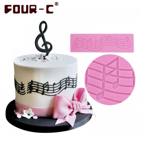 Hot music silicone mat cake silicone lace mold fondant cake decorating tools wedding cake border decorating