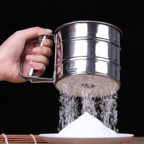 Stainless Steel Mesh Flour Sifter Cup Shape Icing Sugar Shaker Sieve Powder Flour Sieve Cooking Baking