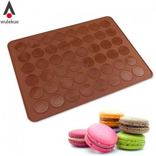 Wulekue Silicone 48 Cavity Muffins Almond Round Cakes Tools Pastry Macaron Baking Sheet Mat Large Cookie