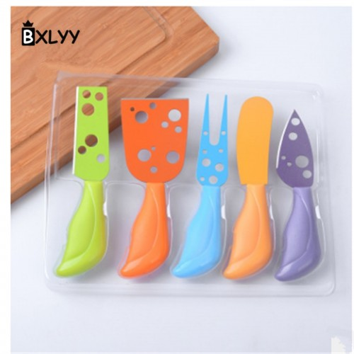 BXLYY 5Pc Set Multicolor Cheese Knife Stainless Steel Cheese Fork Kitchen Cooking Gadget Cheese GraterChristmas